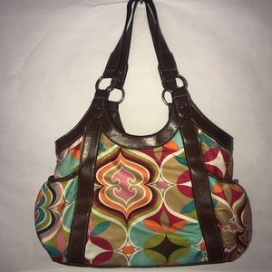 Handbags - Colorful Satchel with Brown Straps